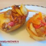 Картофельные половинки, фаршированные овощами
