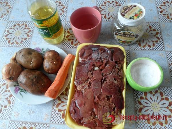 Куриная печень с картофелем