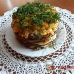 Рецепт как приготовить печеночный торт с морковью и луком